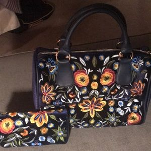 Handbags - Blue Embroidered Satchel with matching wallet